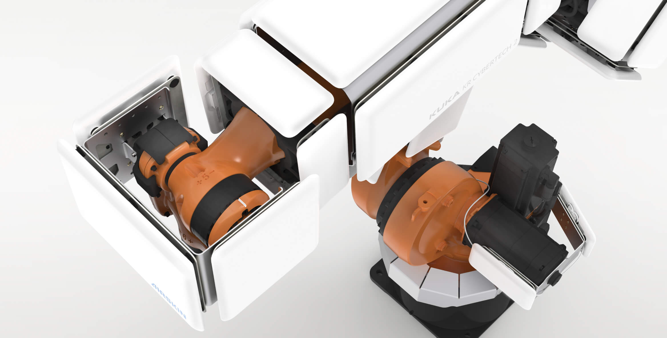 airskin module pads mounted on a collaborative robot