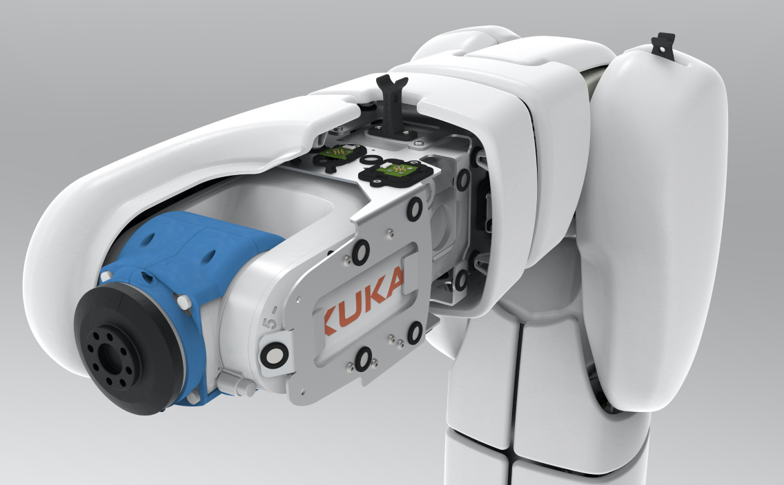 Kuka collaborative robot covered with airskin partly stripped